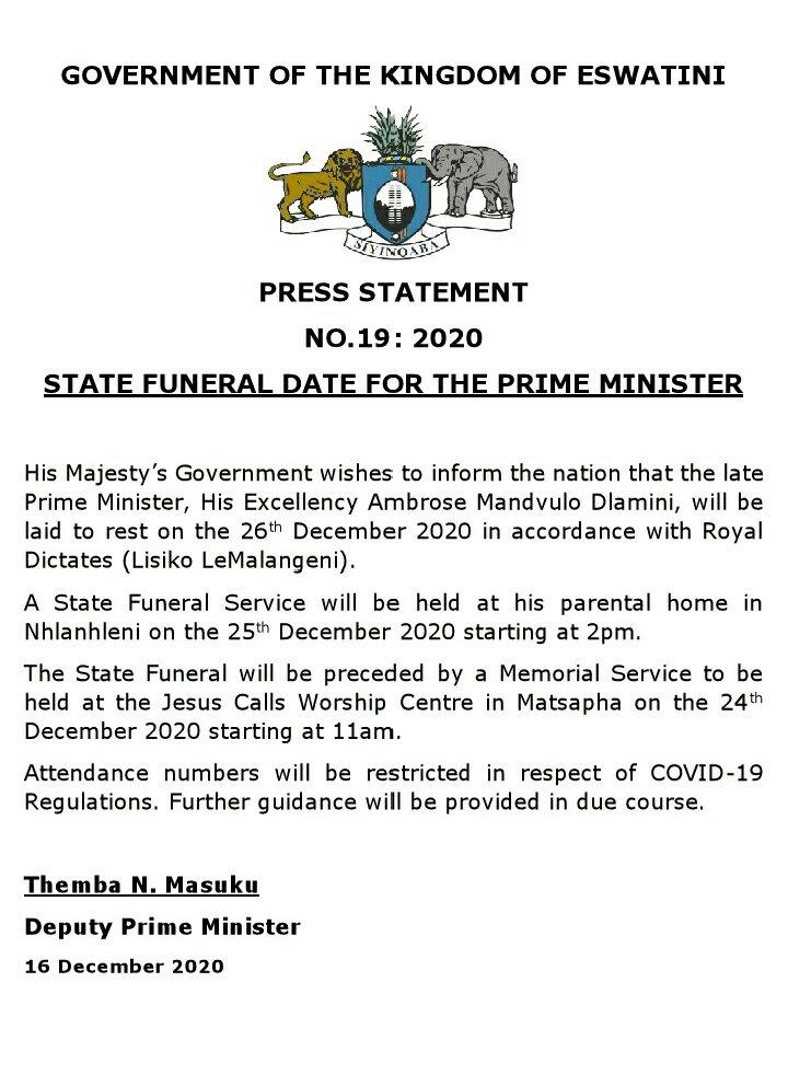 Beerdigung PM Ambrose Dlamini
